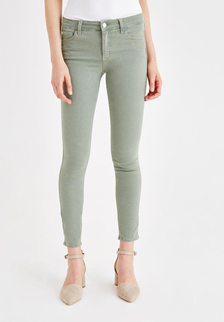 Women Green Skinny Pants with Mid Rise Details