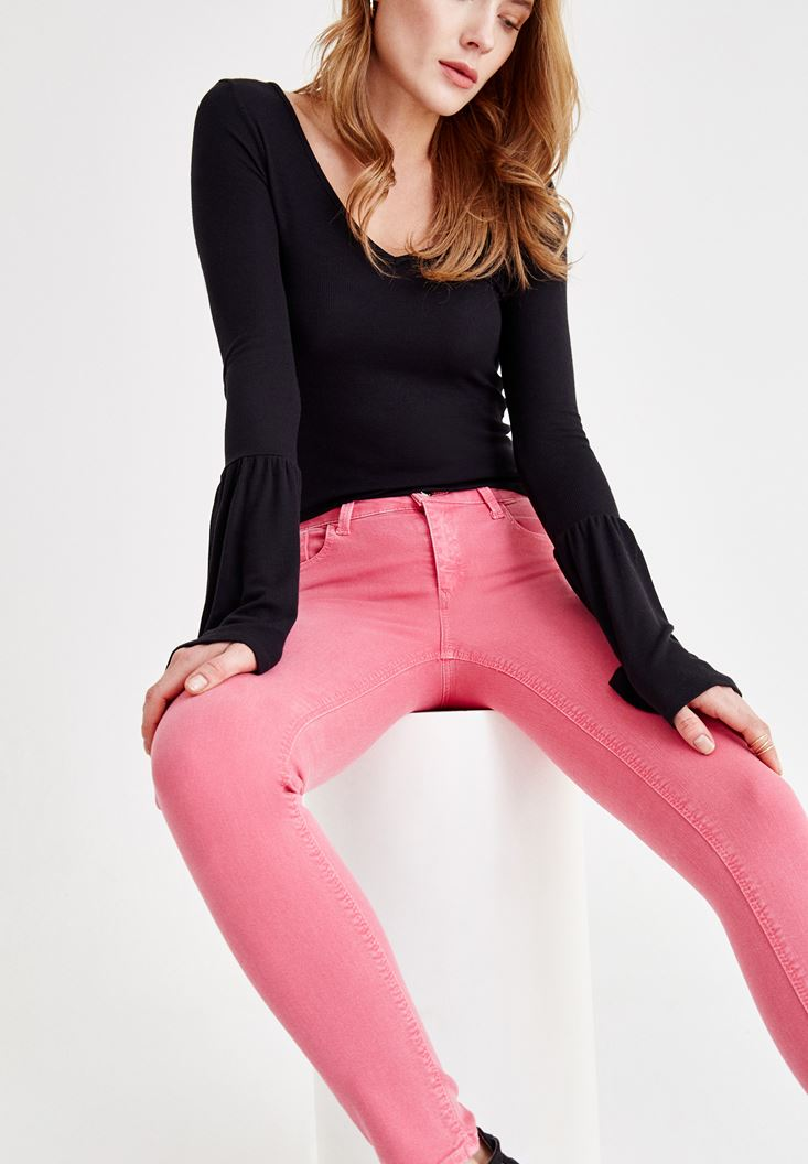 Pink Skinny Pants with Mid Rise Details