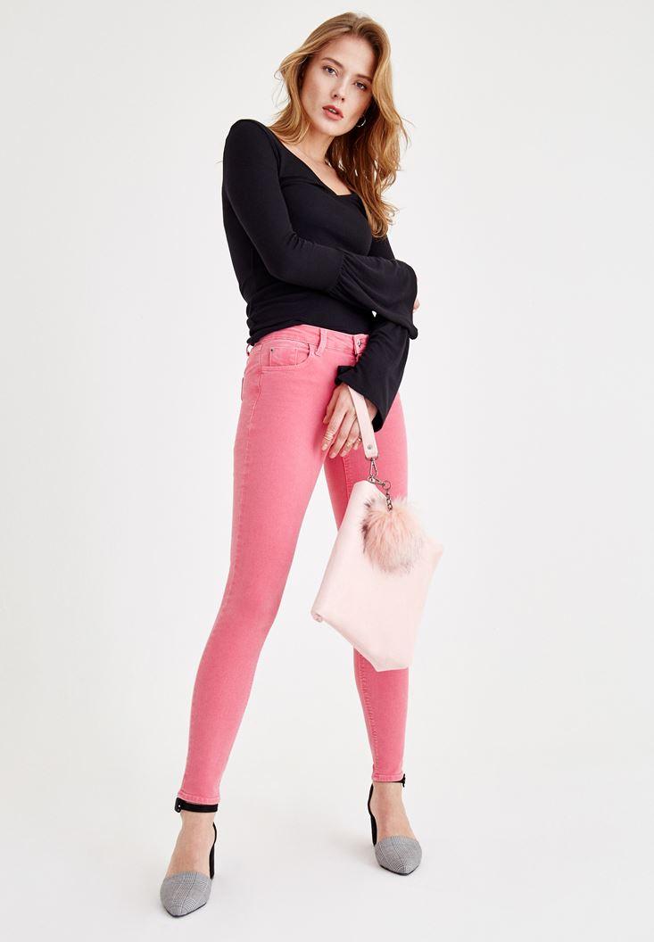 Bayan Pembe Dar Paça Orta Bel Pantolon