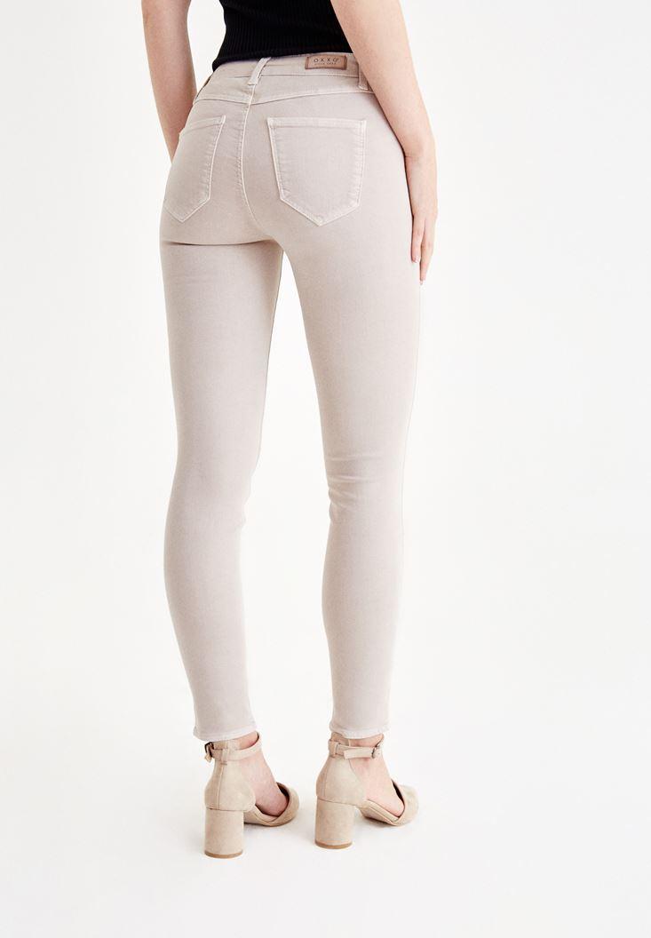 Bayan Gri Dar Paça Orta Bel Pantolon
