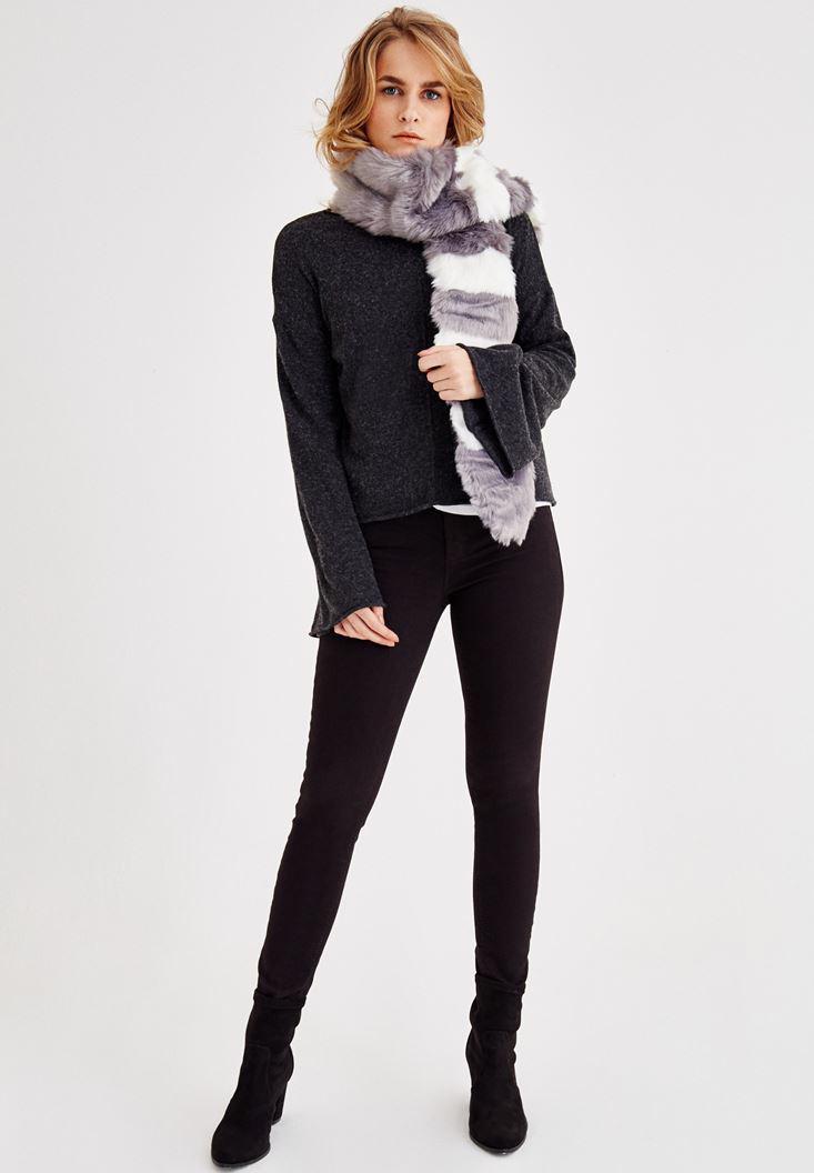 Bayan Siyah Dar Paça Orta Bel Pantolon