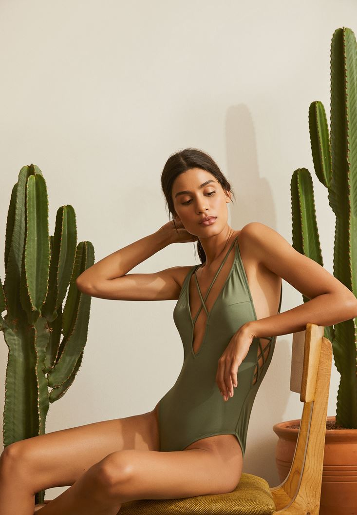Green Lace Up Detailed Swimsuit