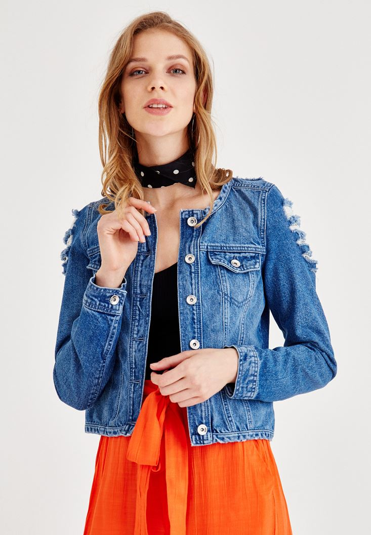 Blue Jean Jacket with Slash Details
