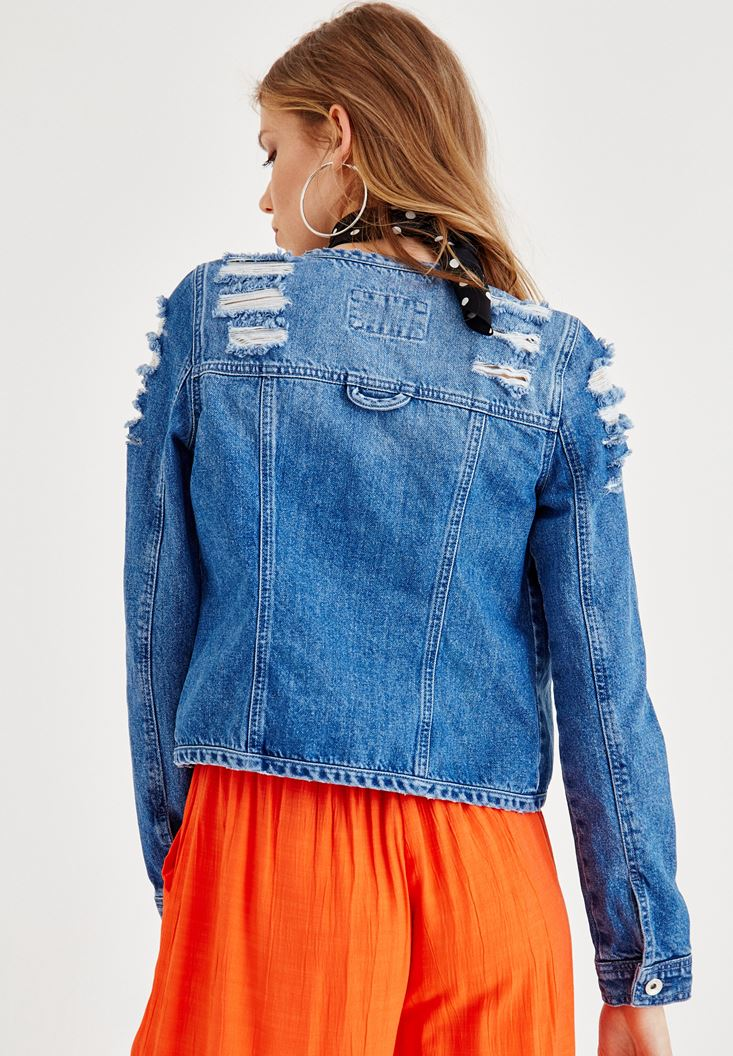 Bayan Mavi Yırtık Detaylı Jean Ceket
