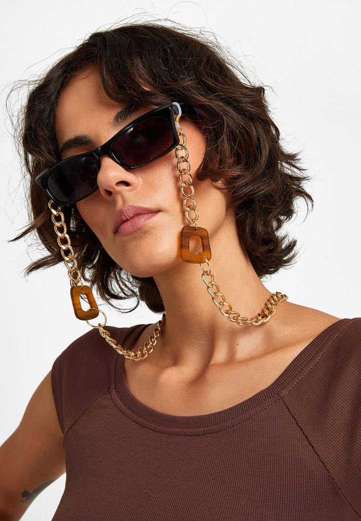 Mixed Wood Detailed Sunglasses Chain