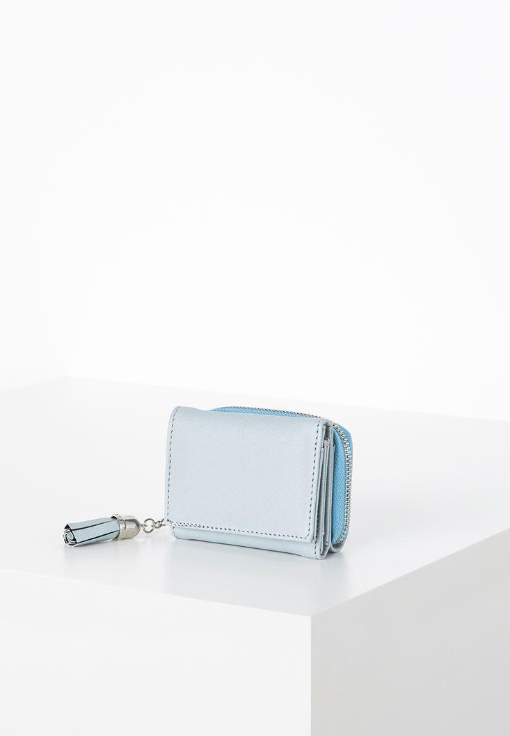 Mavi Püskül Detaylı Küçük Cüzdan