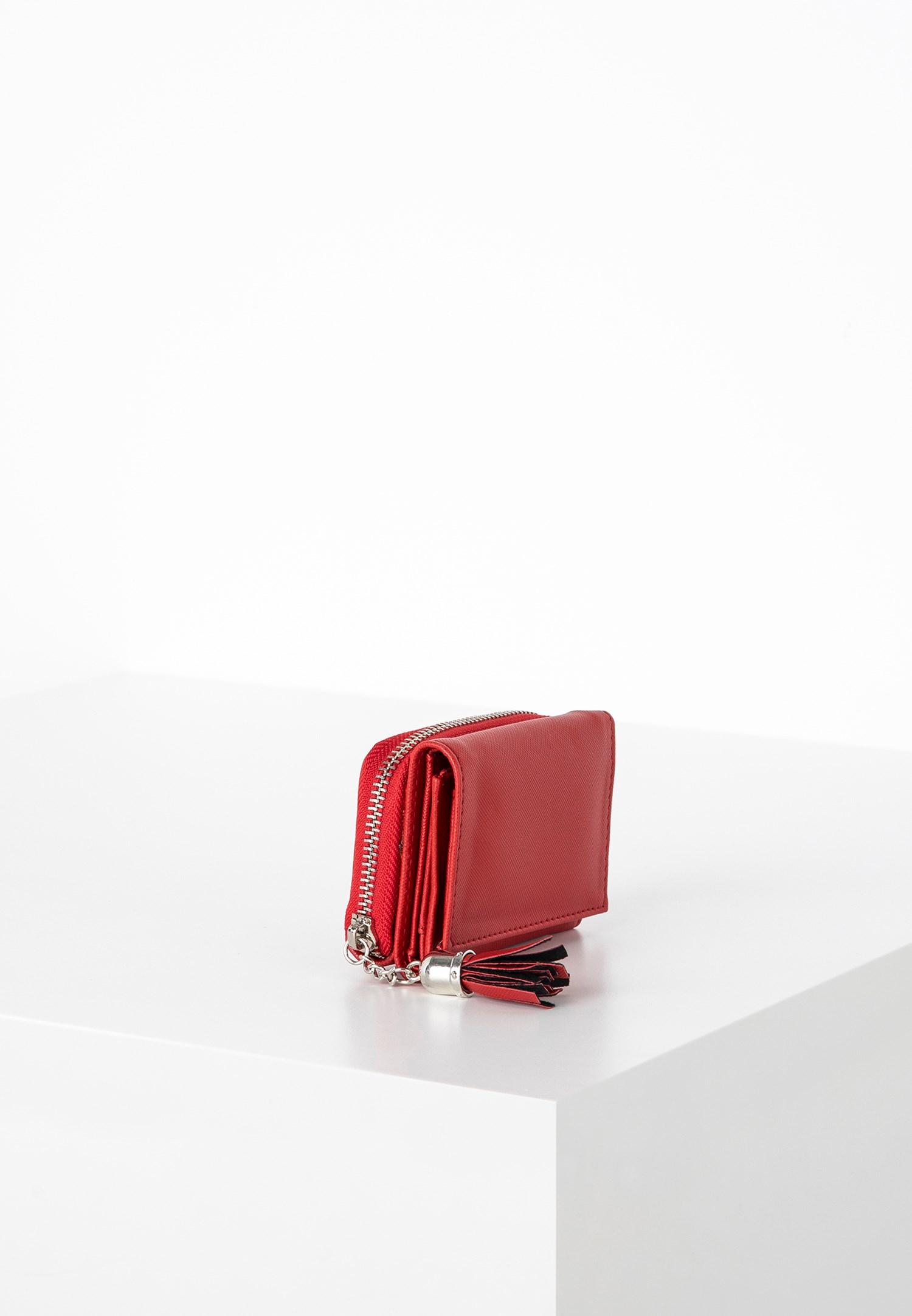 Bayan Kırmızı Püskül Detaylı Küçük Cüzdan