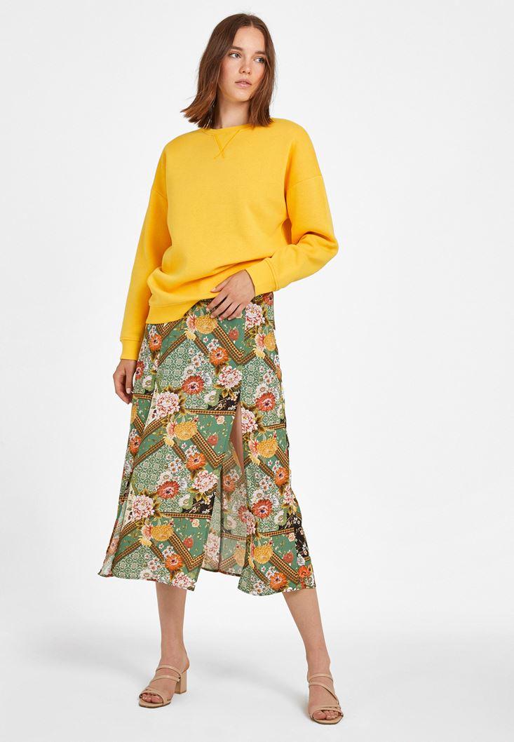 Sarı Sıfır Yaka Bol Kesim Sweatshirt