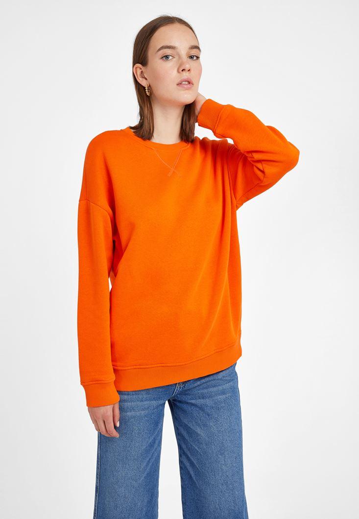 Turuncu Sıfır Yaka Bol Kesim Sweatshirt