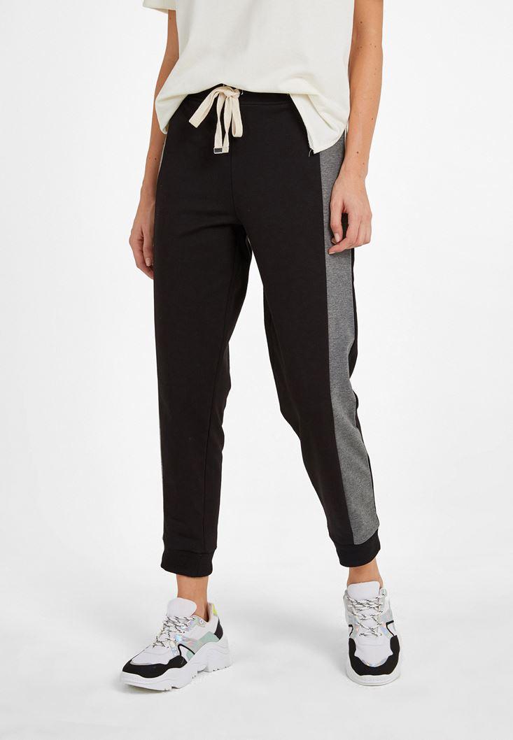 Siyah Orta Bel Jogger Pantolon