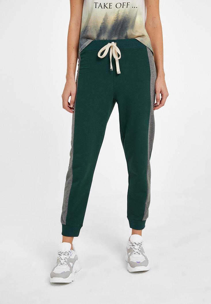 Yeşil Orta Bel Jogger Pantolon