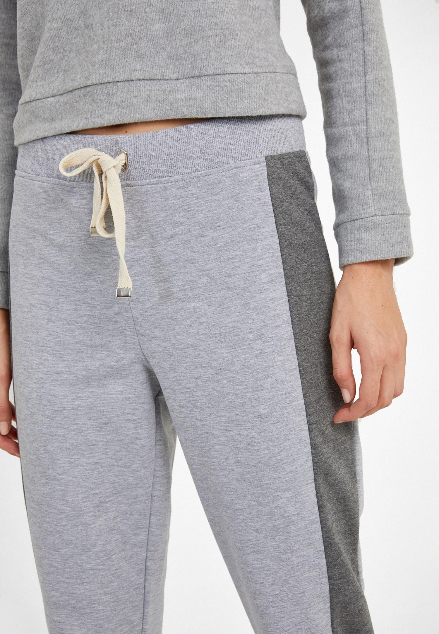Bayan Gri Orta Bel Jogger Pantolon
