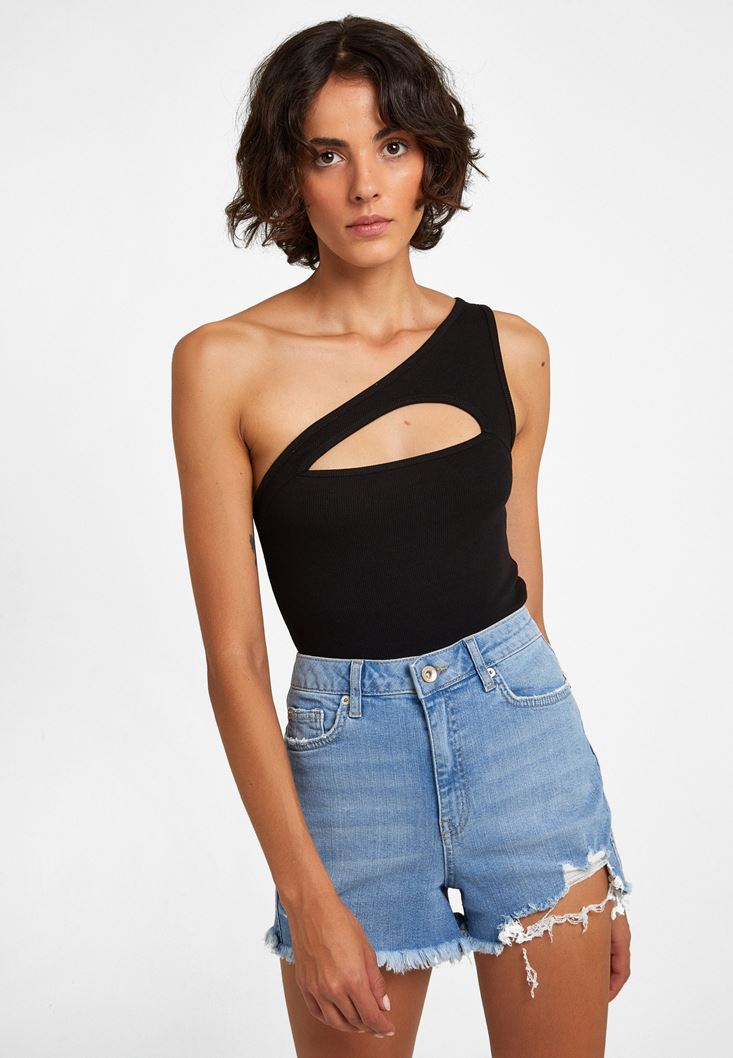 Black Crop Top with Cut-out