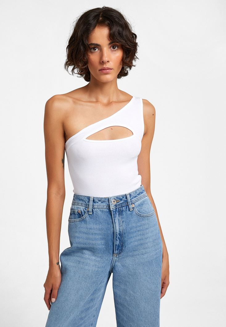 White Crop Top with Cut-out