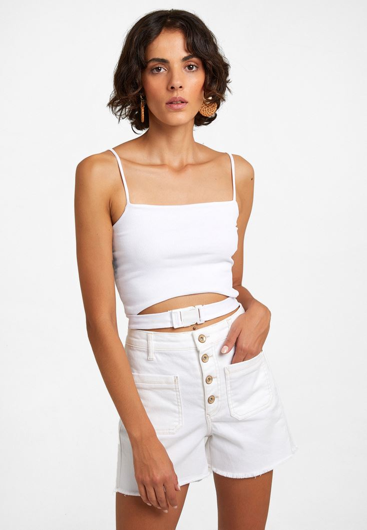 White Crop Top with Buckle Detail