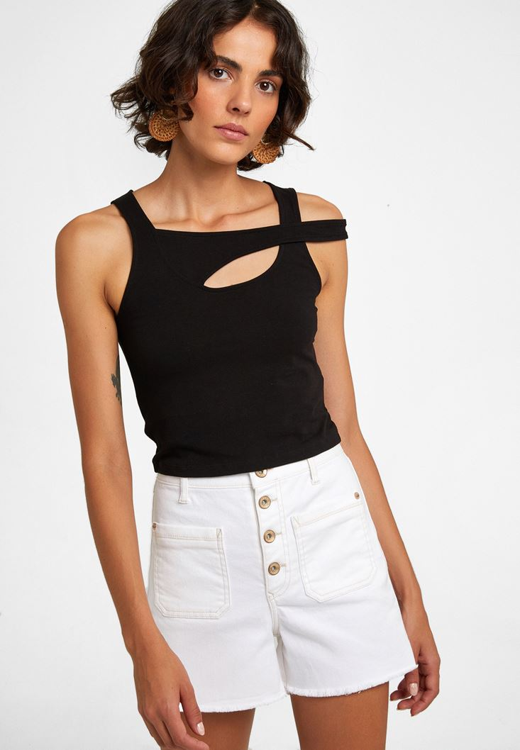 Black Cut-out Detailed Top