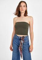 Bayan Yeşil Straplez Kısa Bluz