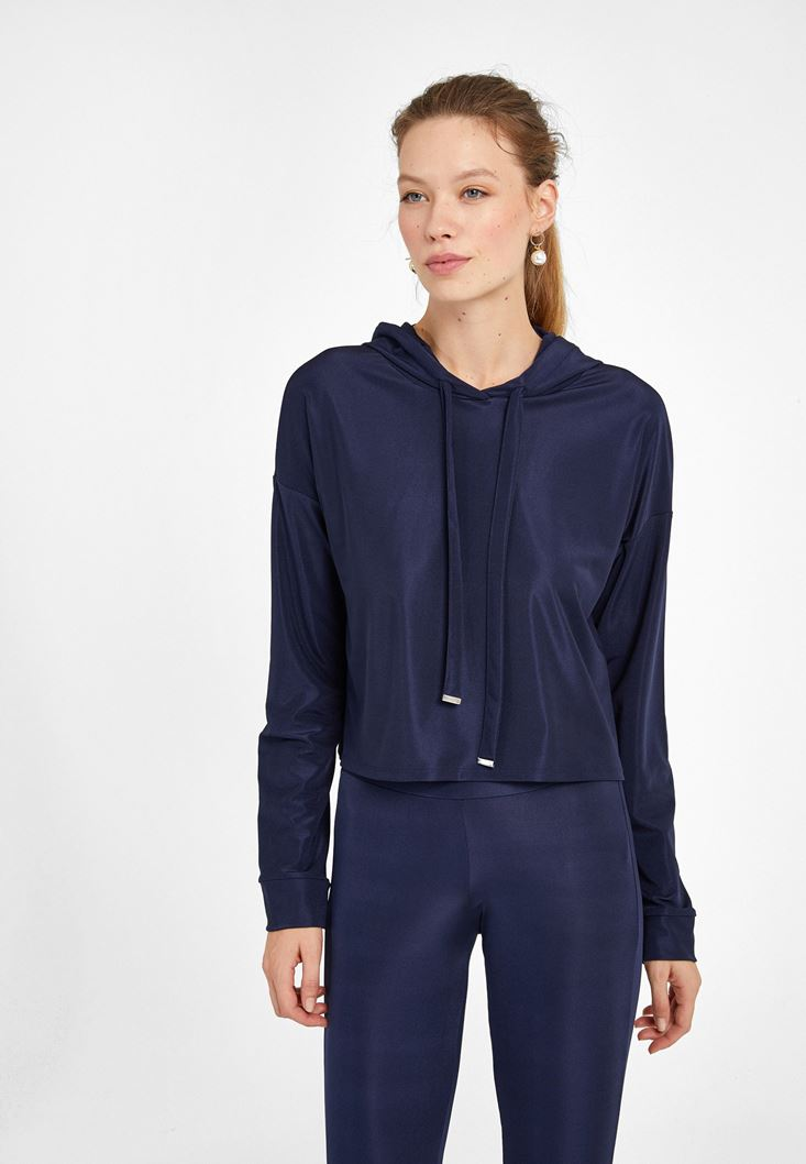Lacivert Uzun Kollu Crop Sweatshirt