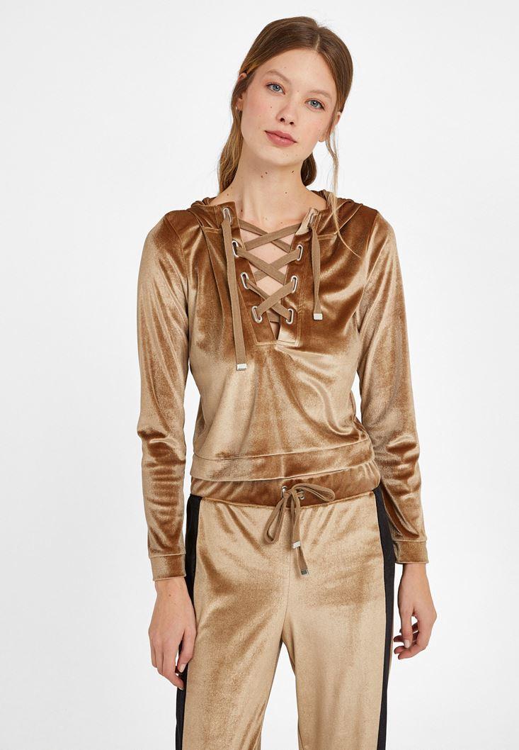 Altın Yumuşak Tuşeli Sweatshirt