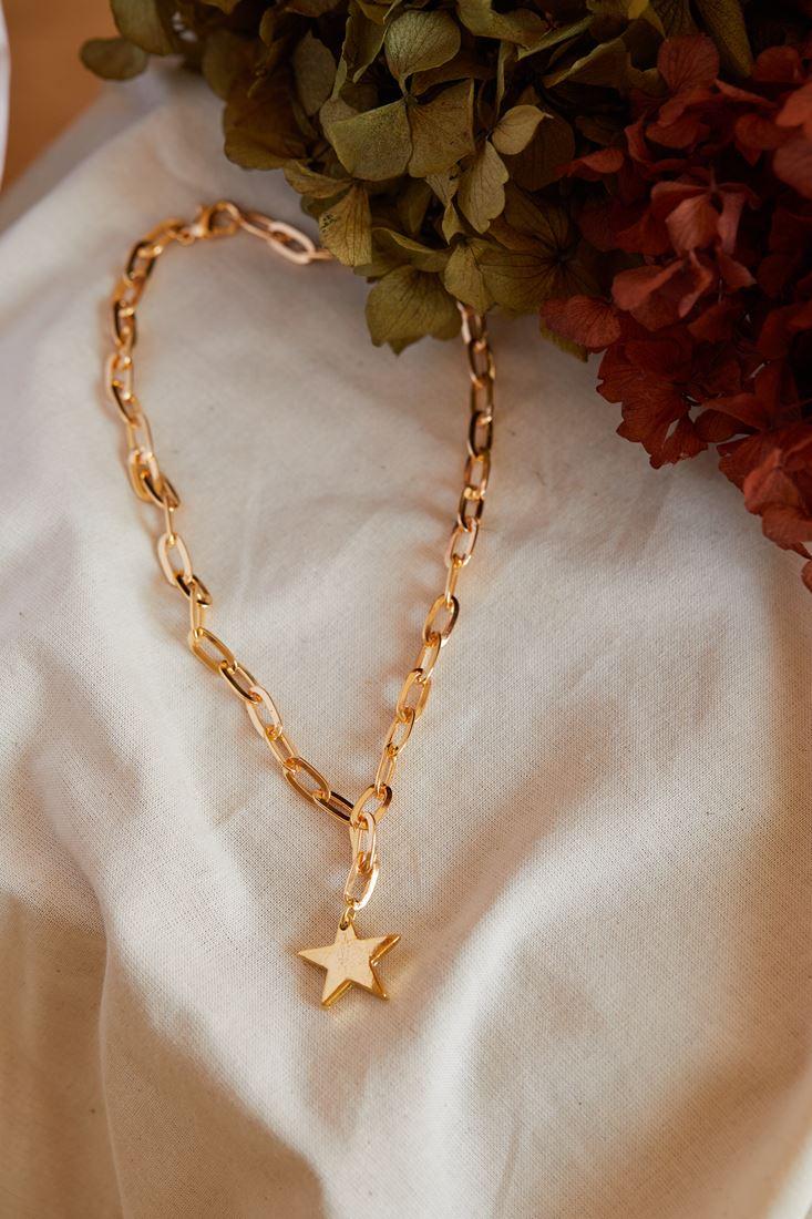 Altın Yıldız Uçlu Zincir Kolye