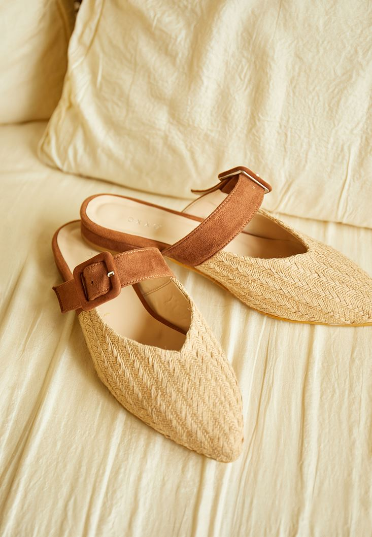 Cream Mules with Buckle Detail