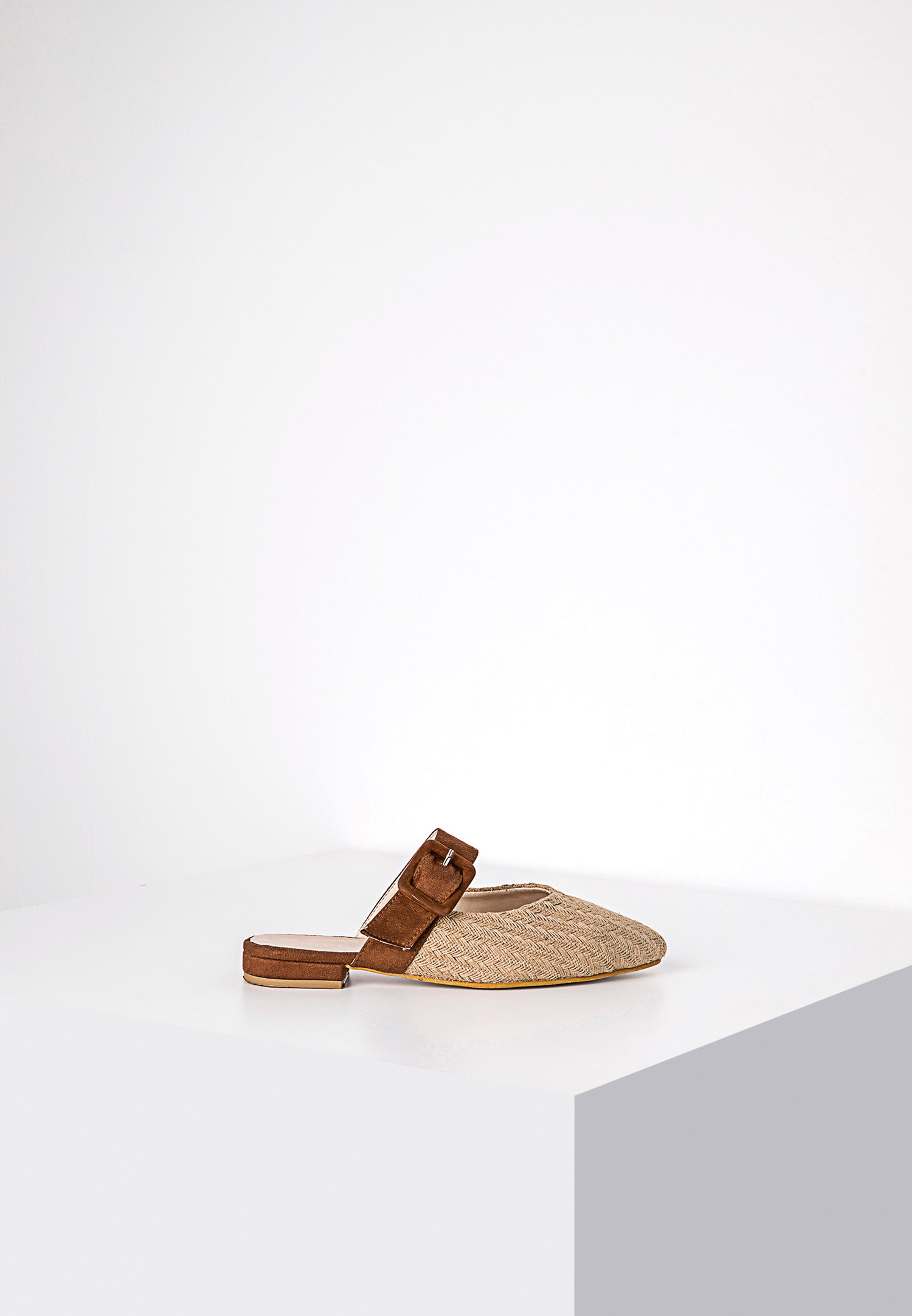 Women Cream Mules with Buckle Detail