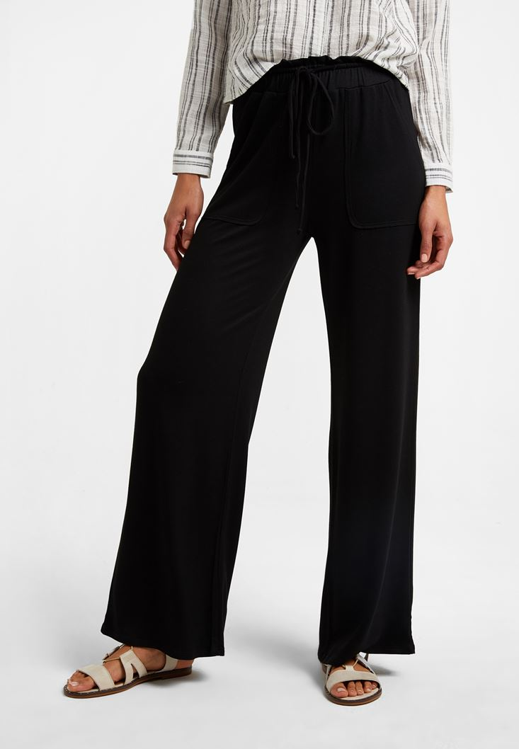 Black Wide-Leg Trousers with Pockets
