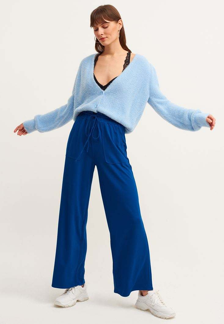 Blue Wide-Leg Trousers with Pockets