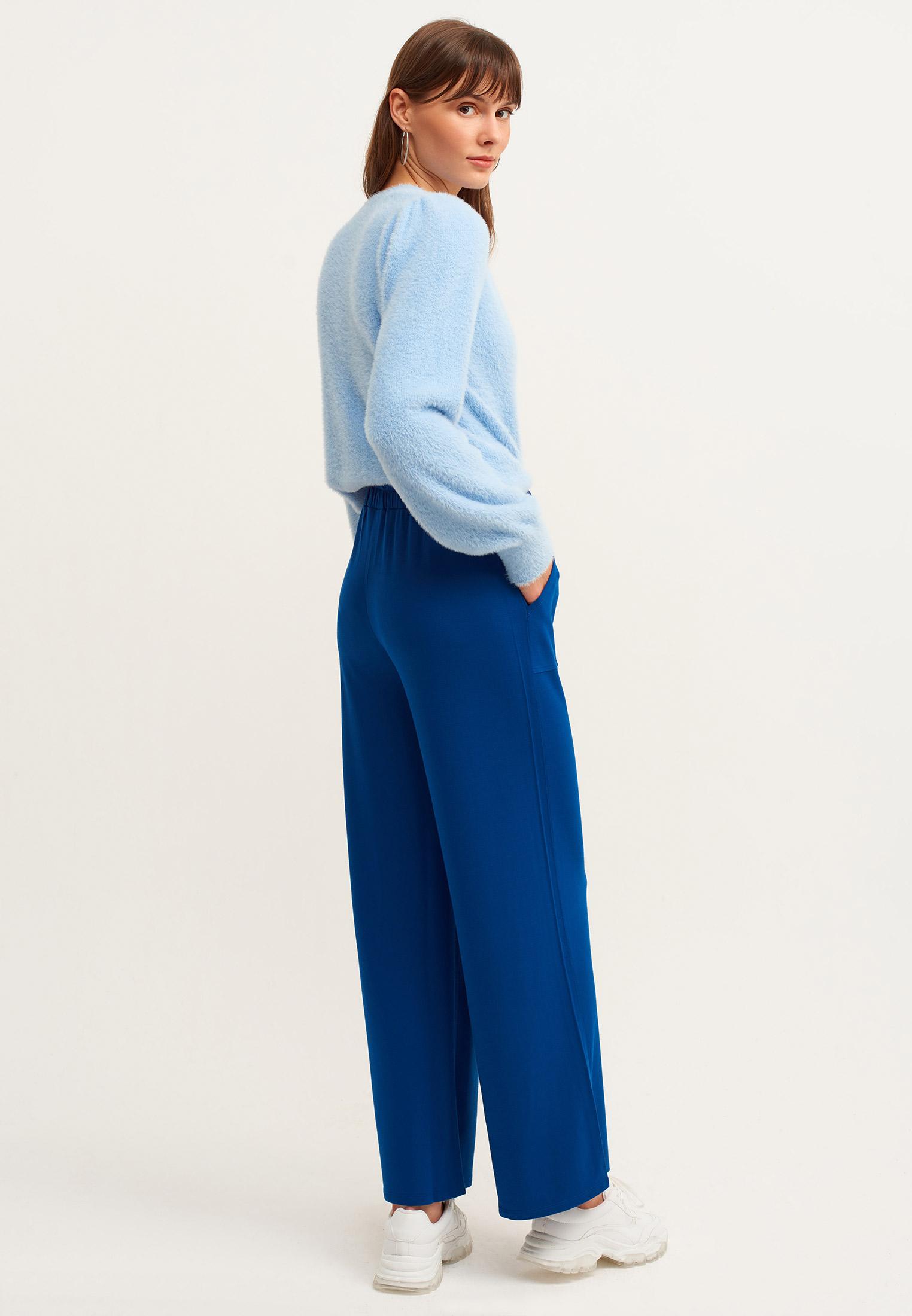 Bayan Mavi Orta Bel Bol Pantolon