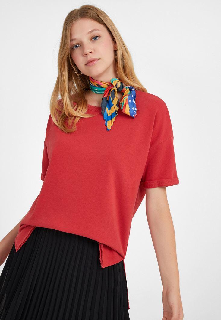 Kırmızı Sıfır Yaka Oversize Tişört