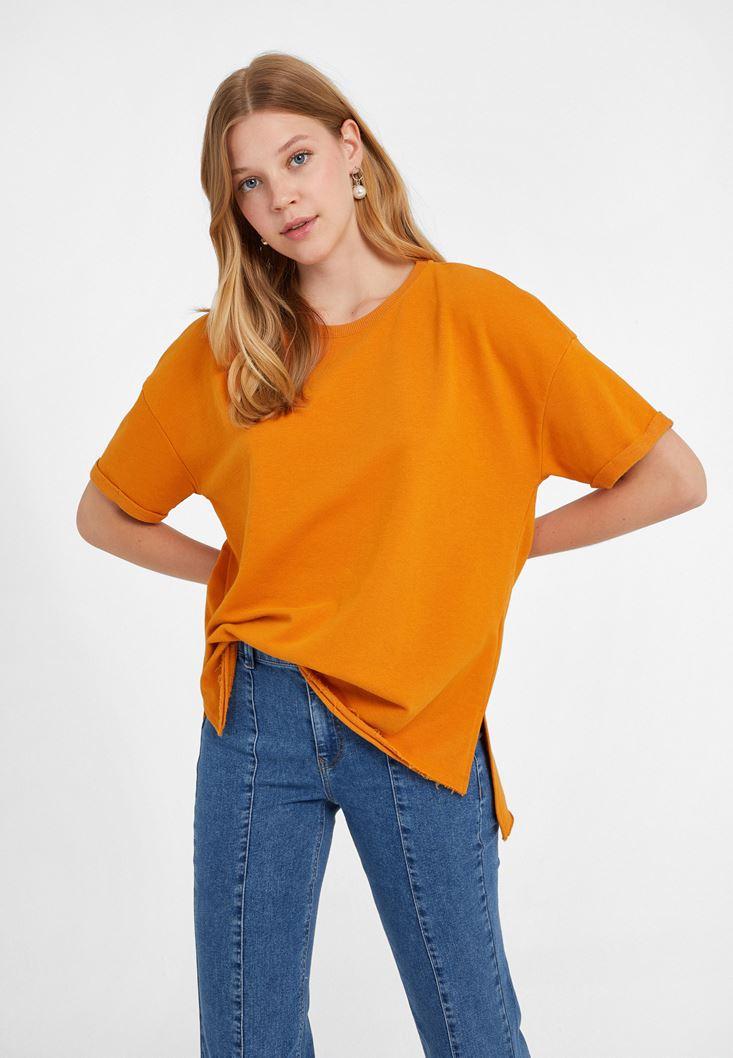 Turuncu Sıfır Yaka Oversize Tişört