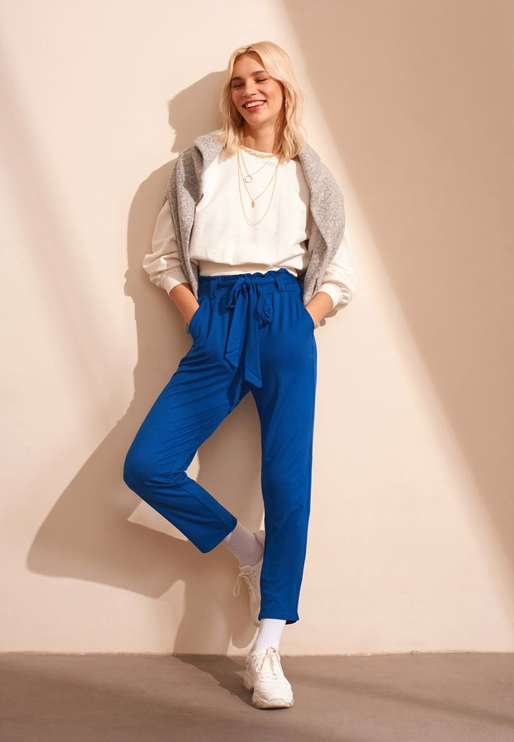 Blue Belted Carrot Trousers