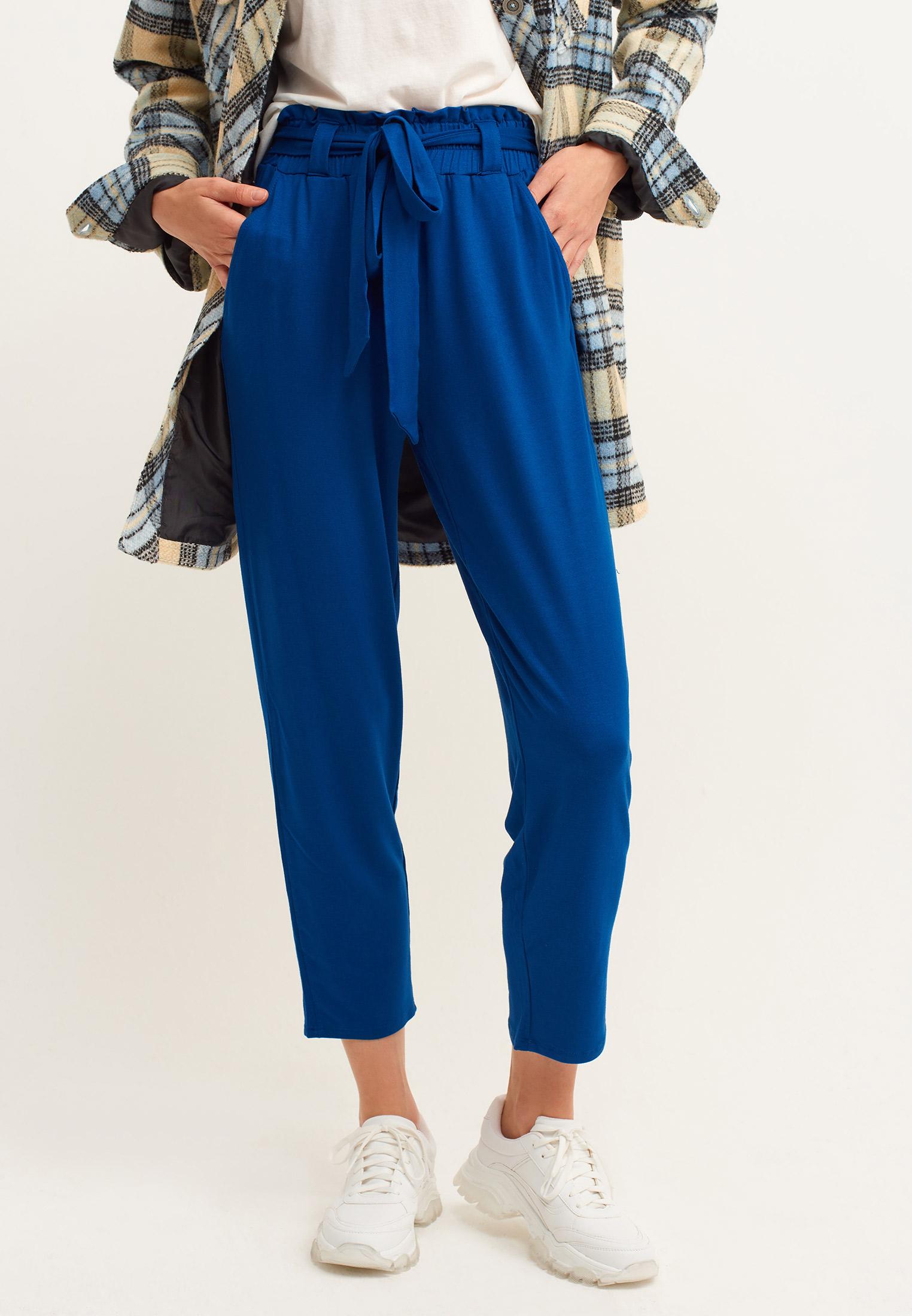 Bayan Mavi Beli Bağlamalı Havuç Kesim Pantolon