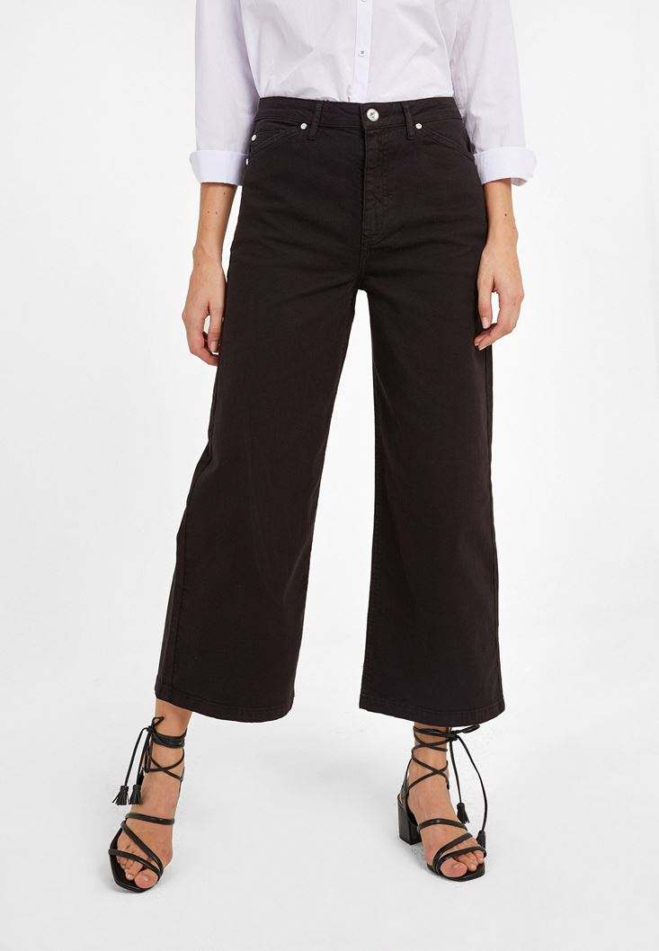 Siyah Ultra Yüksek Bel Bol Pantolon