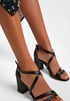 Bayan Siyah Bant Detaylı Topuklu Ayakkabı