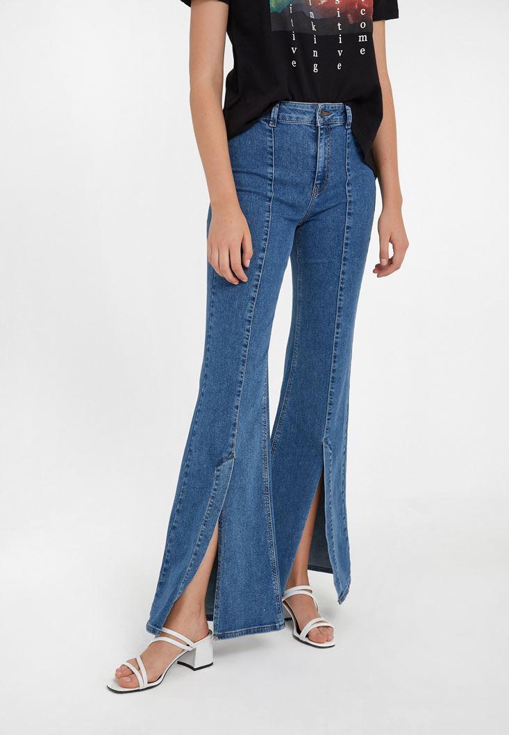 Mavi Yüksek Bel Yırtmaç Detaylı Pantolon