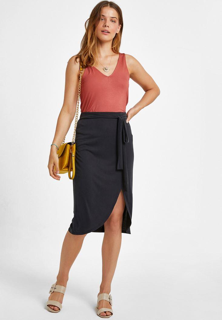 Black Belted Midi Skirt