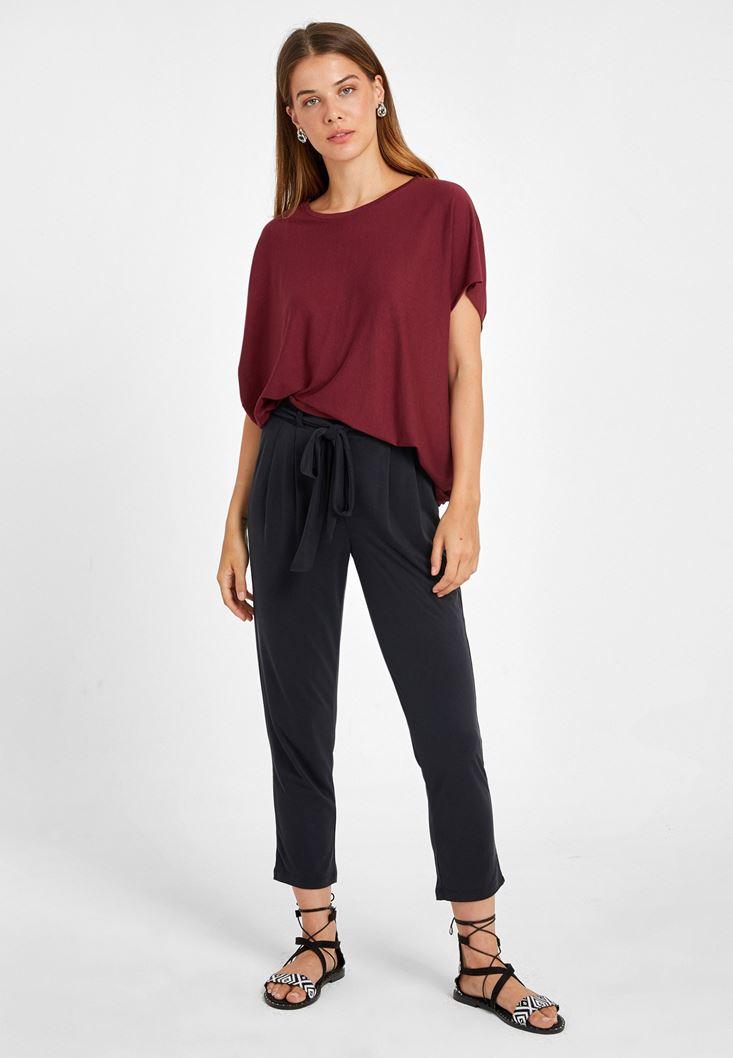 Siyah Yumuşak Dokulu Orta Bel Pantolon