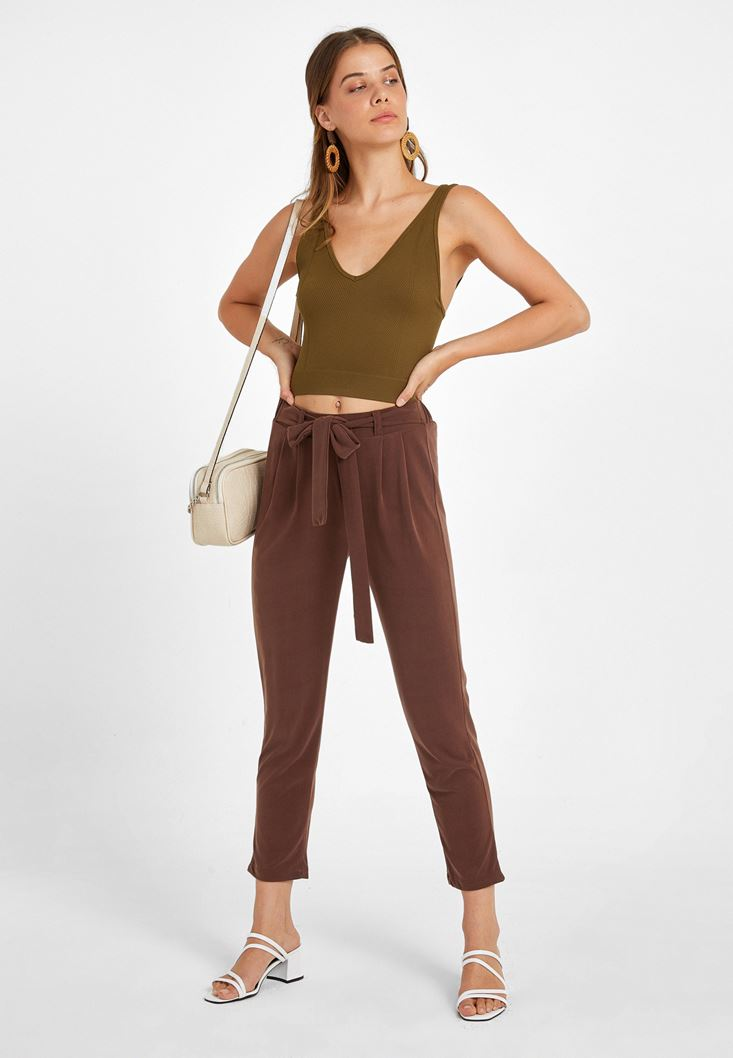 Soft Touch Belted Trousers