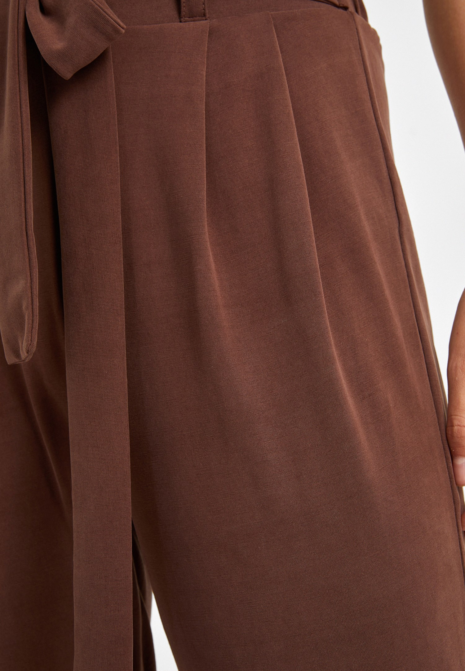 Women Brown Soft Touch Belted Trousers
