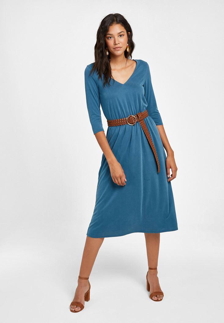 Mavi Yumuşak Dokulu Uzun Elbise