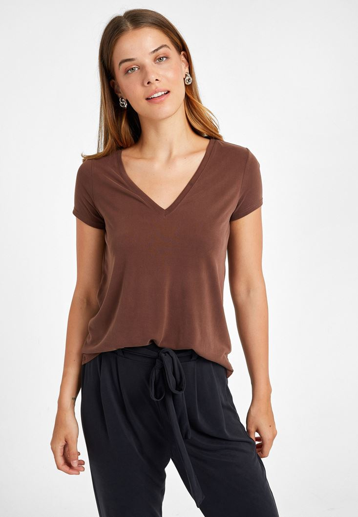 Brown V-Neck Soft Touch T-Shirt
