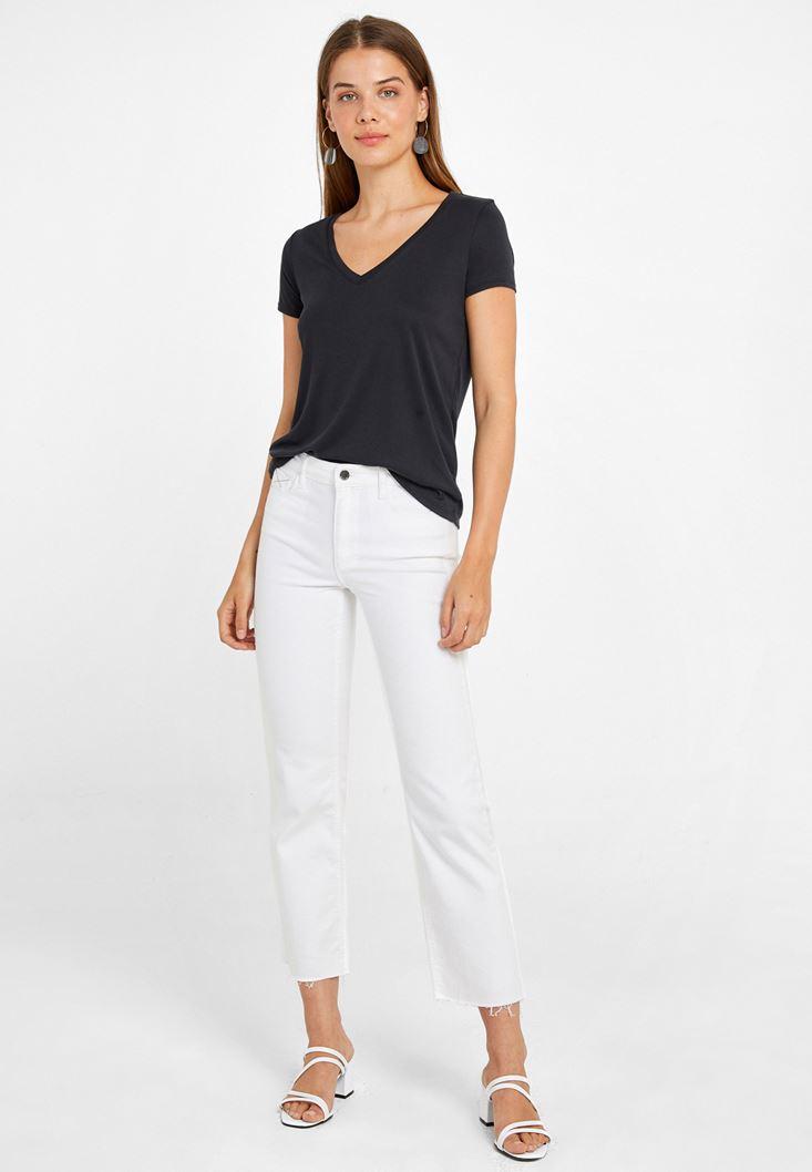 Yumuşak Dokulu Tişört ve Yüksek Bel Pantolon Kombini