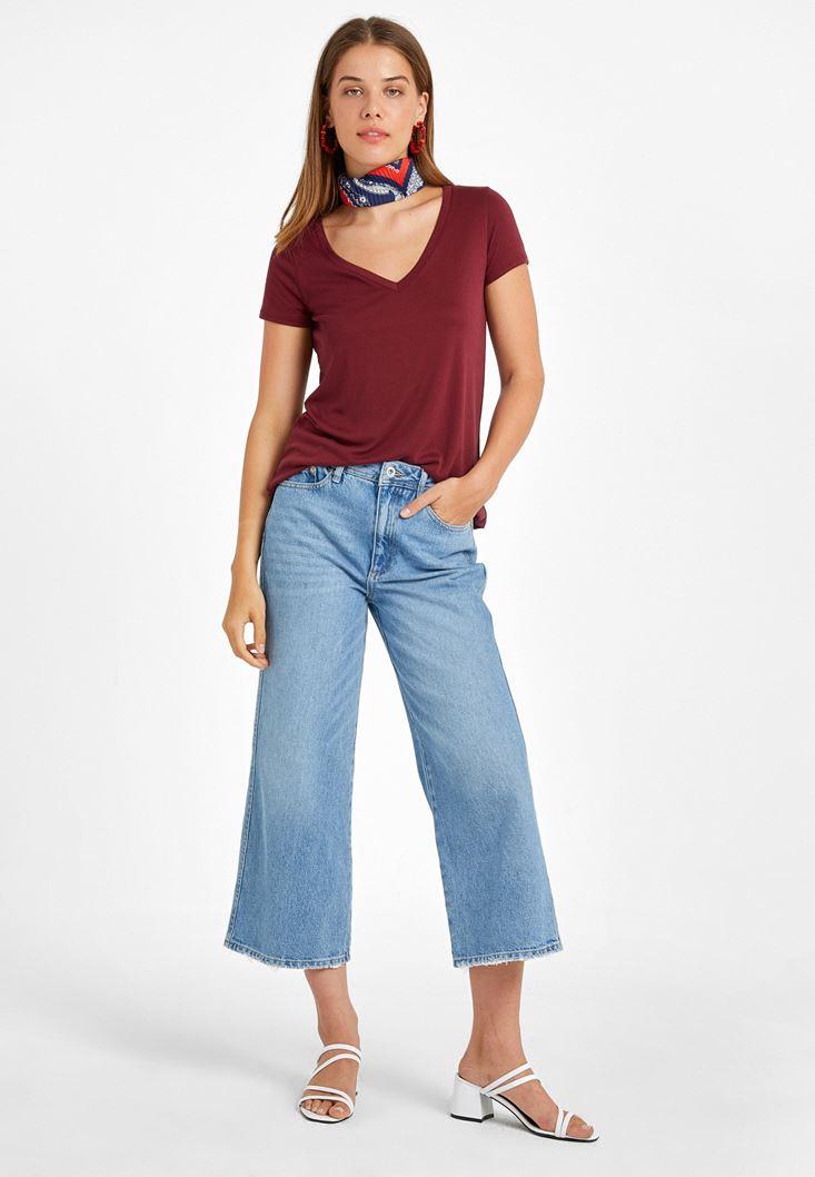 Yumuşak Dokulu Tişört ve Yüksek Bel Culotte Pantolon Kombini