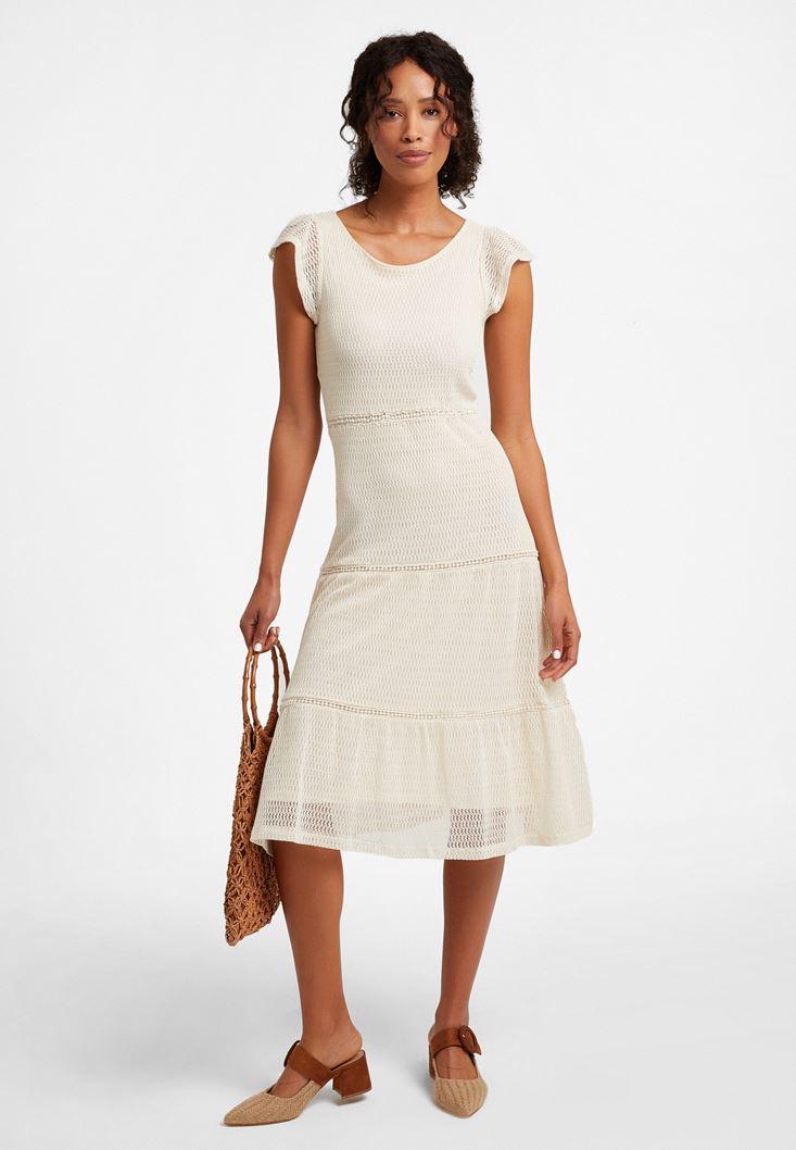 Cream Midi Lace Dress