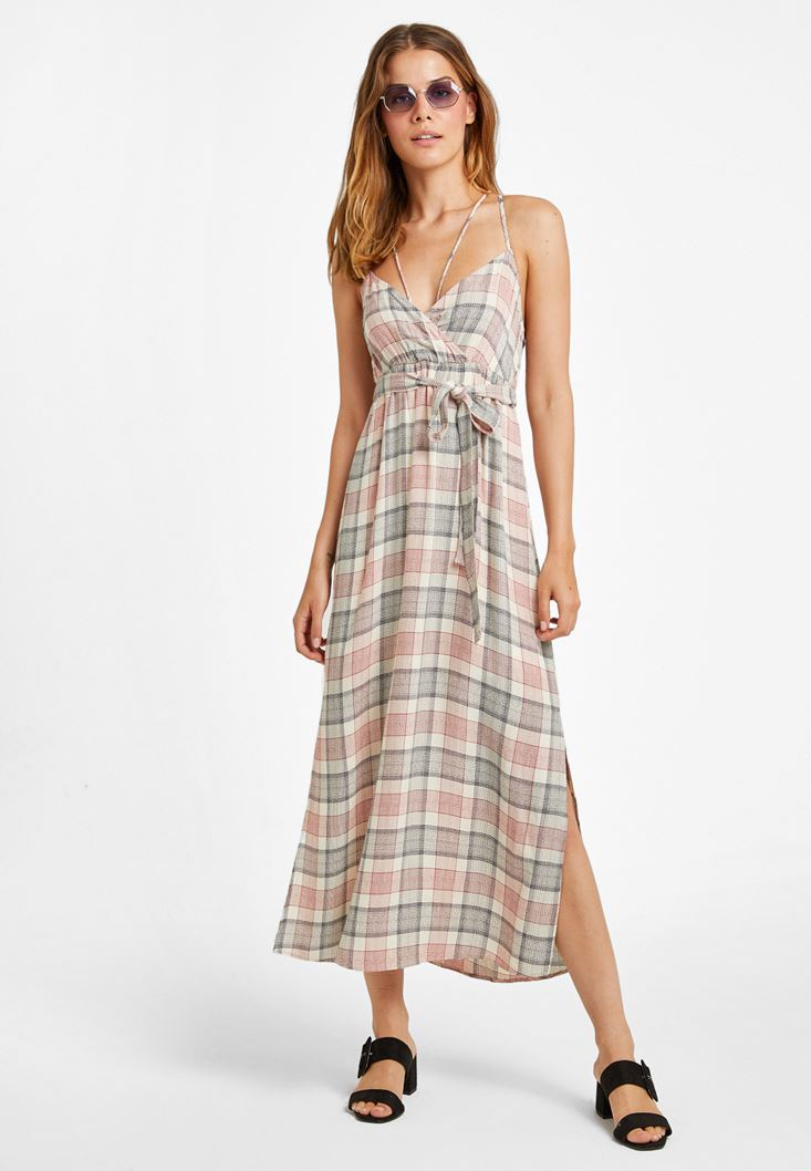 Mixed Belted Long Dress