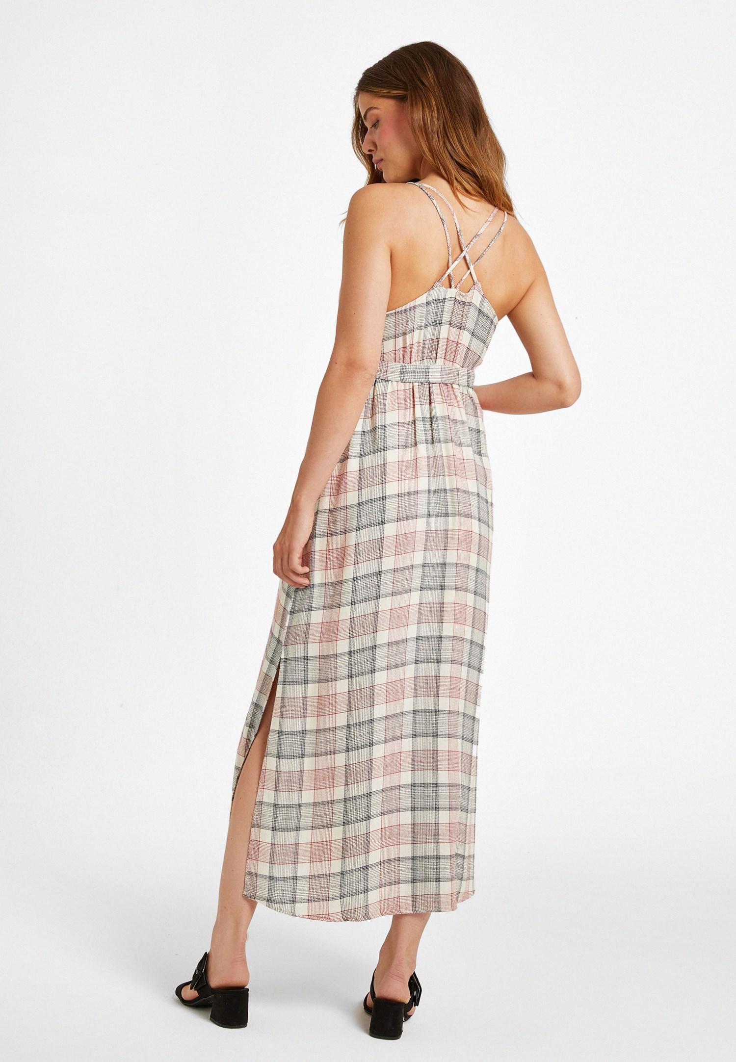 Bayan Çok Renkli Ekose Desenli Uzun Elbise