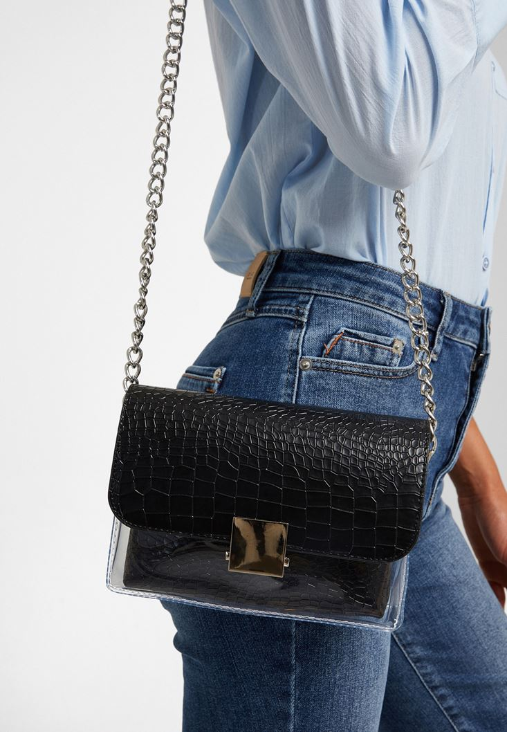 Black Vinil Detailed Shoulder Bag