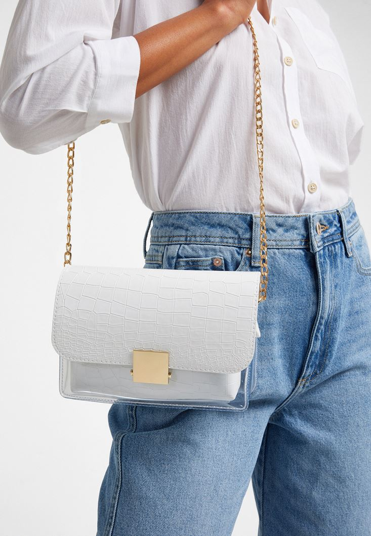White Vinil Detailed Shoulder Bag