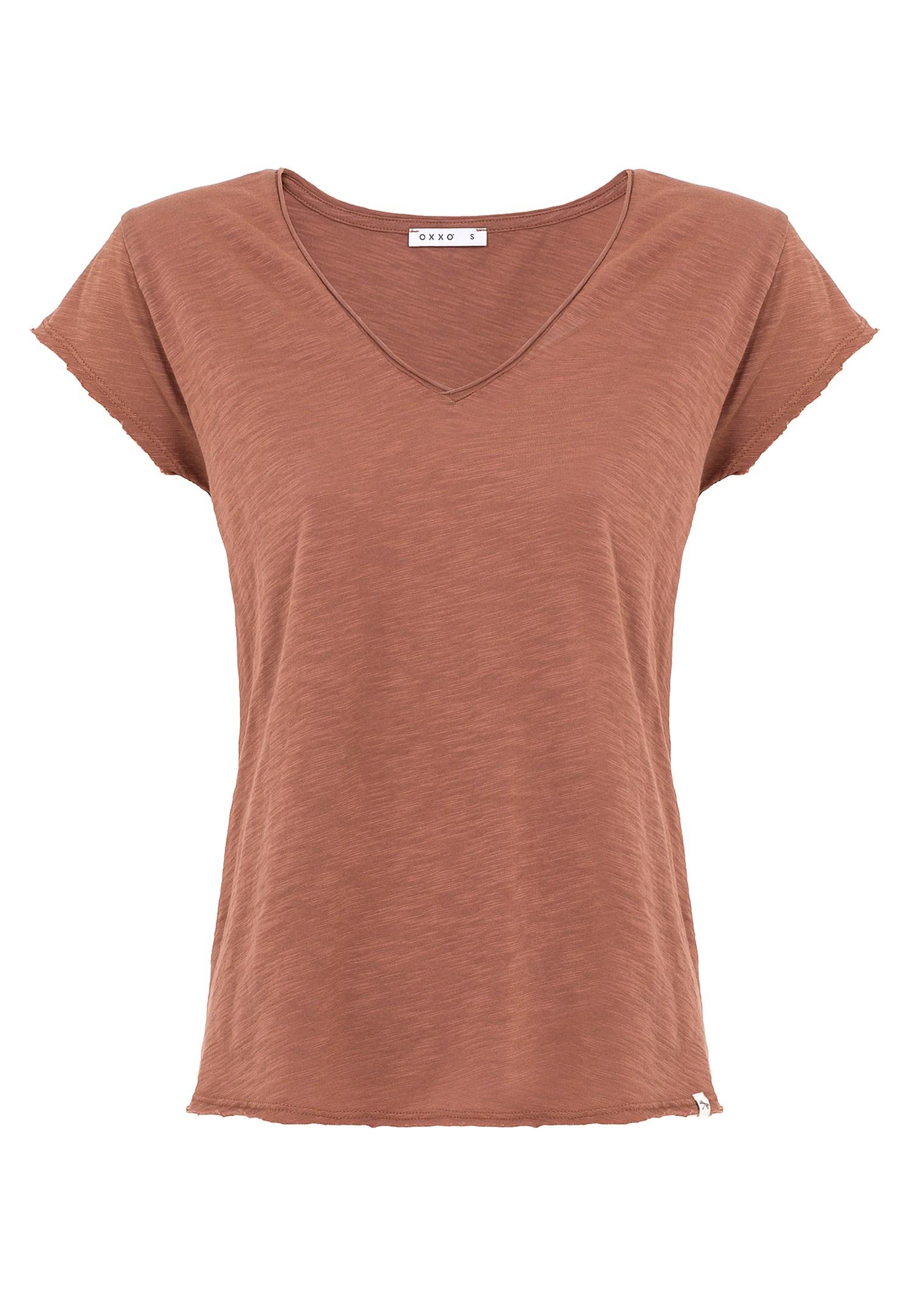 Bayan Kahverengi V Yaka Tişört